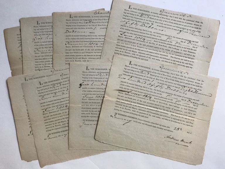 DEEDS OF SALE FOR LOTS IN THE THIRD AND SIXTH WARDS, NEW YORK CITY, OFFERED BY THE MAYOR, ALDERMEN AND COMMONALTY OF THE CITY OF NEW YORK, PROPERTY BELONGING TO THE CORPORATION OF THE CITY OF NEW YORK, 1813.