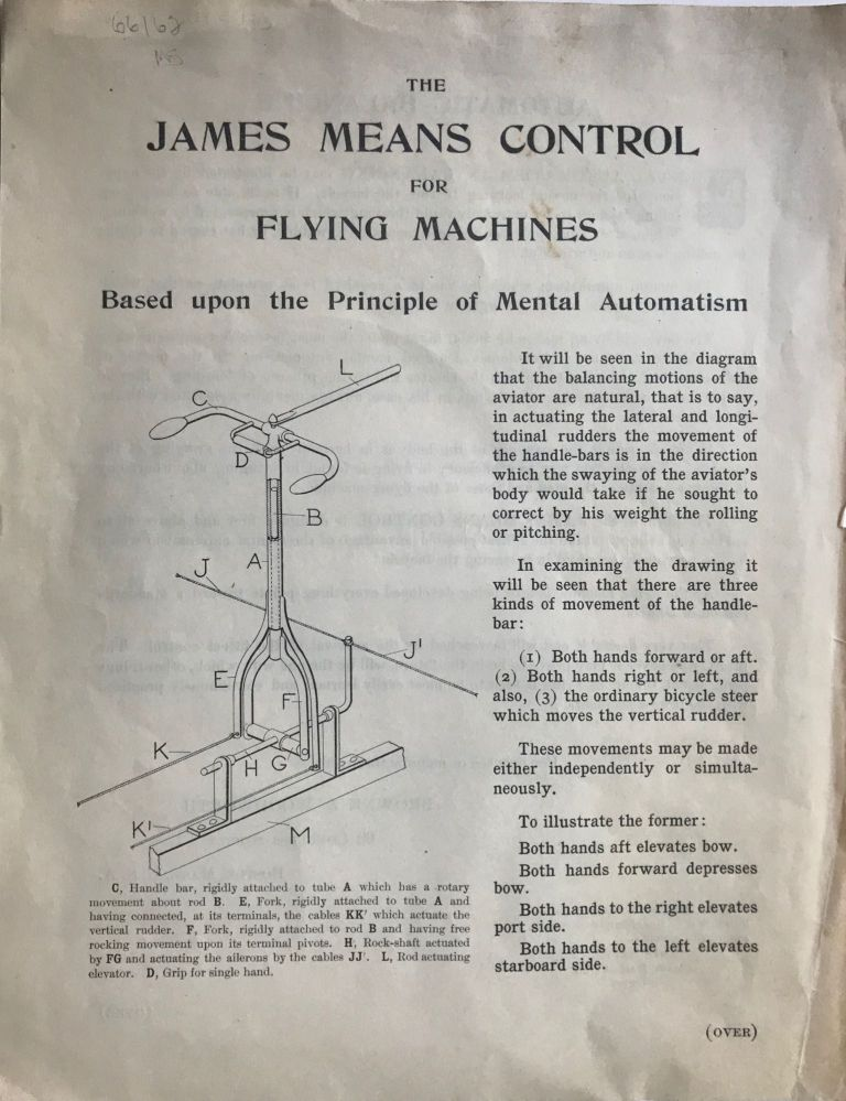 THE JAMES MEANS CONTROL FOR FLYING MACHINES BASED UPON THE PRINCIPLE OF MENTAL AUTOMATISM. [caption title]