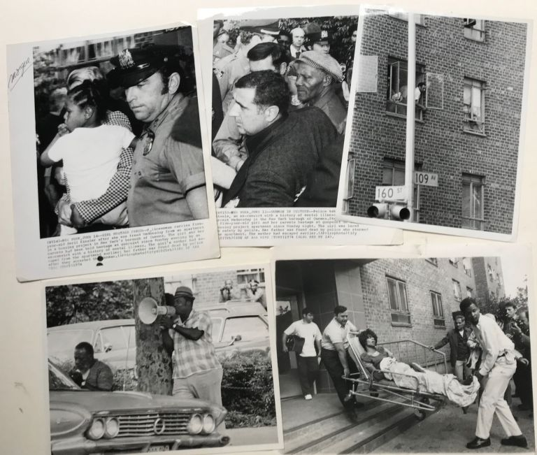 A HOSTAGE SITUATION IN QUEENS, NEW YORK IN JUNE 1974, ORIGINAL NEWS PHOTOS OF THE SUCCESSFUL HOSTAGE NEGOTIATIONS WHICH FREED A FIVE YEAR OLD GIRL.