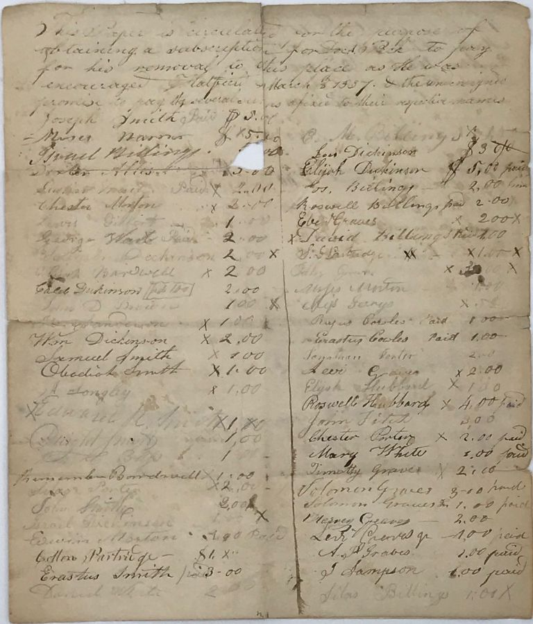 LIST OF SUBSCRIBERS PLEDGING TO HELP PAY FOR DR. [ADDISON] PECK'S REMOVAL TO THE TOWN OF HATFIELD [MASSACHUSETTS], MARCH 8, 1837.