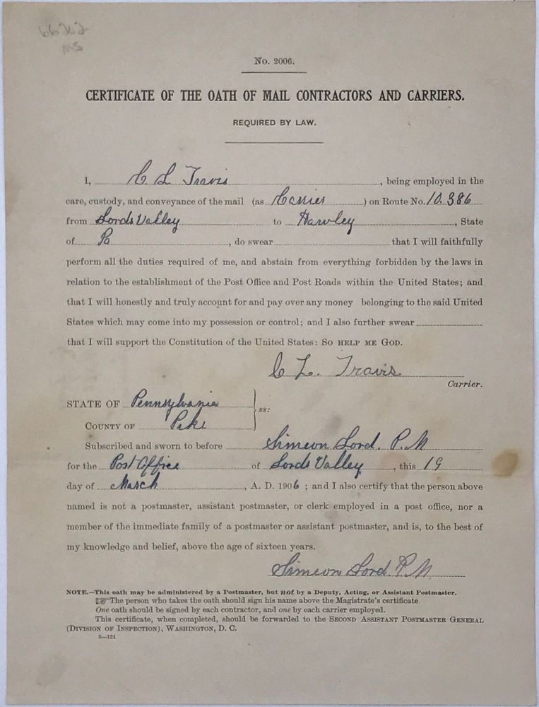 CERTIFICATE OF THE OATH OF MAIL CONTRACTORS AND CARRIERS. [caption title]