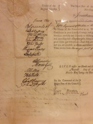 """APPOINTING A SECOND LIEUTENANT IN THE WORCESTER MILITIA IN APRIL, 1776, a partly printed document, completed in manuscript 4 April 1776, and signed by Lincoln and 15 other members of the """"Council of the Massachusetts-Bay, in New-England."""""""