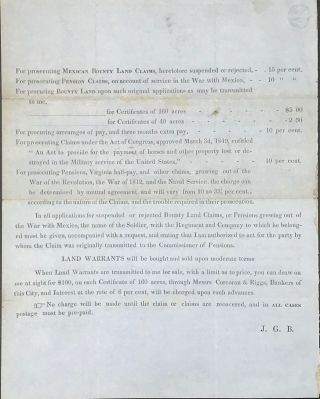TWO PAGE CIRCULAR ADVERTISING BERRET'S SERVICES AS ATTORNEY FOR CLAIMANTS AGAINST THE PENSION OFFICE, DATED WASHINGTON, D.C., SEPTEMBER 15th, 1849.