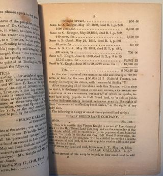 """STRICTURES ON DR. I. GALLAND'S PAMPHLET, ENTITLED """"VILLAINY EXPOSED,"""" WITH SOME ACCOUNT OF HIS TRANSACTIONS IN LANDS OF THE SAC AND FOX RESERVATION, ETC., IN LEE COUNTY, IOWA"""
