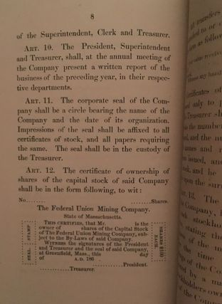 By-Laws of the Federal Union Mining Company, Clear Creek County, Colorado, Organized, March 27, 1866. Capital stock $100,000.
