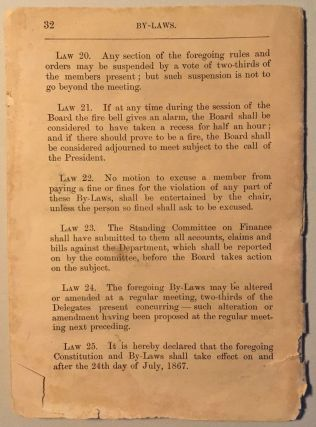 Constitution and By-laws of the Fire Department of Gold Hill, Nevada, Organized May 22, 1867. Revised May, 1878.