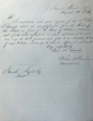 Confirming a land claim in a secretarial letter, signed 16 August 1836, from the General Land...