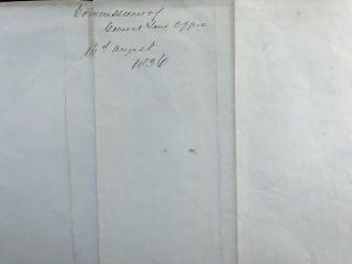 Confirming a land claim in a secretarial letter, signed 16 August 1836, from the General Land Office, to Frank Taylor.