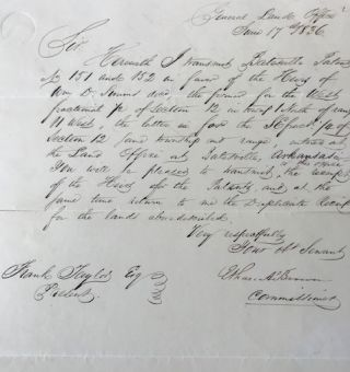 Confirming land claims in a secretarial letter, signed 17 June 1836, from the General Land...