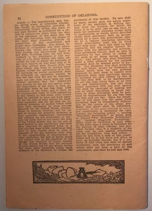 Constitution of Oklahoma as Submitted by the Constitutional Convention to the Voters for Ratification on August 6, 1907 [caption title]
