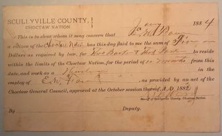 Work permit, a partly printed form, 4 3/4 x 8 inches, completed in manuscript, and signed by R.J....