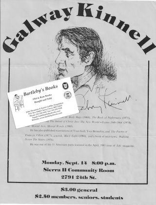 Arranging and advertising a reading in Sacramento, California, in 1981 as recorded in a small archive of correspondence and ephemera. Galway KINNELL.