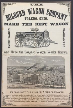 THE / MILBURN WAGON COMPANY / TOLEDO, OHIO, / MAKE THE BEST WAGON / [cut of a wagon, 3 1/4 x 7...