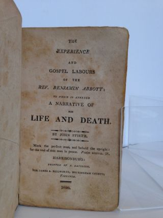 The Experience and Gospel Labours of the Rev. Benjamin Abbott; To which Is Annexed a Narrative of His Life and Death by John Ffirth.