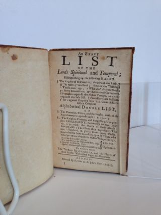 An Exact List of the Lords Spiritual and Temporal … Also, a Compleat Alpahabetical Double List, of I. The Counties, Cities, and Boroughs, with Their Representatives Against Each … II. The Knights, Citizens, and Burgesses of the Present Parliament … To which Is Added, The Trustees for Georgia, and Places of Their Abode: With Blank Pages for Alterations.
