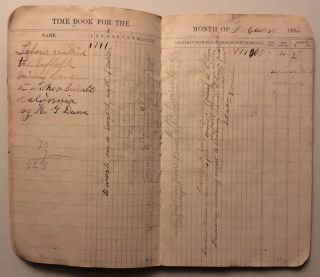 Tracking daily pay from work for mining companies in Sierra County, California, 1882-1883, as recorded, with brief notes concerning work and other day-to-day activities, in a small ledger.