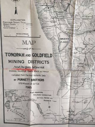 Map of the Tonopah and Goldfield Mining Districts and Region Adjacent, Showing Railroads, Wagon Roads, and Trails.
