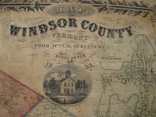 Map of Windsor County, Vermont. From actual surveys by Hosea Doton.