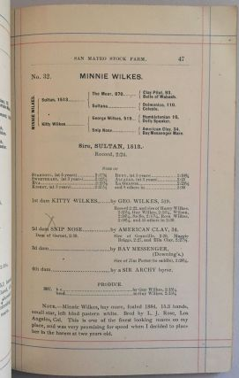 1888. CATALOGUE OF TROTTING STOCK, AT THE SAN MATEO STOCK FARM, THE PROPERTY OF WM. CORBITT, SAN MATEO, (SAN MATEO COUNTY), CALIFORNIA.