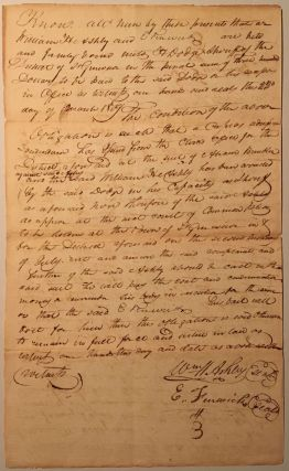 Acknowledging a bond for a court appearance, in a manuscript document, signed by Ashley and...