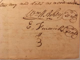Acknowledging a bond for a court appearance, in a manuscript document, signed by Ashley and Ezekial Fenwick, both named in a suit filed by Abram Brinker in the District of St. Genevieve, Missouri, 22 March 1809