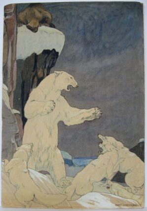 Polar bear fending off wolves [supplied title for the painting]