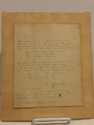 """Home, Sweet Home,"" an original holograph copy of the poem and ballad, signed by the author and inscribed by him at the bottom to the wife of Daniel Webster's secretary ""for Mrs. Zantzinger, who knows so thoroughly the way, and exercises so sweetly the power, to render Home what Heaven meant it should be. Washington, March 28, 1851."""