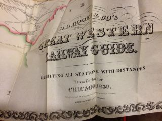 D.B. COOKE & CO's GREAT WESTERN RAILWAY GUIDE. EXHIBITING ALL STATIONS WITH DISTANCES FROM EACH OTHER CHICAGO, 1856.