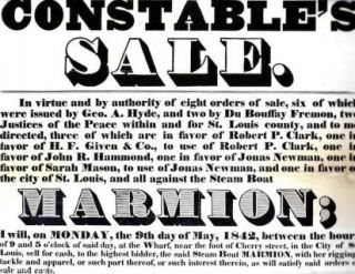CONSTABLE'S / SALE. / IN VIRTUE AND BY AUTHORITY OF EIGHT ORDERS OF SALE, SIX OF WHICH / WERE...