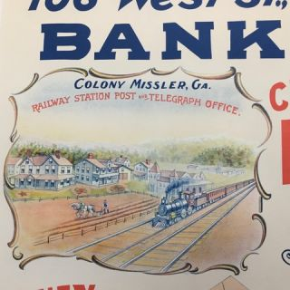 """F. Missler & Krimmert. / 106 West St., New York. / Bankers. / [inset color illustration of a train arriving at a small town railway station, a farmer plowing a field and the town's sparkling buildings in the background, depicted under the heading """"Colony Missler, Ga. / Railway Station, Post and Telegraph Office,"""" all enclosed within an ornamental border, 11 1/2 x 15 inches] / Choice / Farm Land / At $5 and Upwards per Acre / Money Sent to Europe / Legacies / Collected in / Vollmachten, Erbschaften [those three lines printed over a large sealed envelope, 4 1/2 x 10 inches, addressed in two eastern European languages] / Drafts, Money Exchange. / [inset color illustration of a steamer on the ocean, 12 x 14 inches] / Wegen Auskunft schreibe direct an: [""""For information, write directly to:""""; repeated in three eastern European languages] F. Missler & Krimmert [complete text]."""