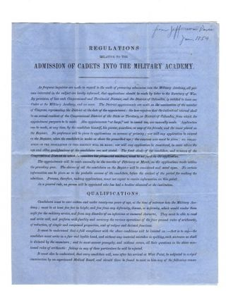 REGULATIONS RELATIVE TO THE ADMISSION OF CADETS INTO THE MILITARY ACADEMY. Jefferson Davis