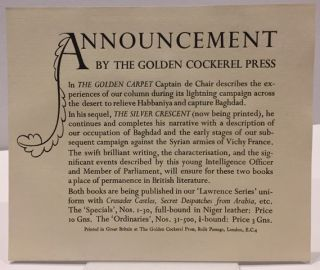 THE GOLDEN CARPET; Published by permission of the War Office