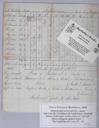 "Keeping score at the 1865 Tufts University baseball game between the sophomore and freshman classes, as recorded in an autograph scorecard, an inning-by-inning columnar account, set up similar to the scorecards in use today, showing the results of each at bat and with end-of- the-game summaries, including ""flies caught,"" ""flies missed,"" and ""left on bases"" Baseball Manuscript, C. Peabody, ""scorer"""