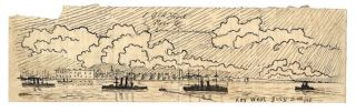 A HOSPITAL APPRENTICE ABOARD THE CRUISER USS NEW ORLEANS DURING THE SPANISH AMERICAN WAR RECORDS HIS EXPERIENCES IN FIVE LETTERS HOME, ACCOMPANIED BY AN ACCOUNT OF THE BOMBARDMENT OF SANTIAGO, AND THREE ORIGINAL PEN & INK AND PENCIL DRAWINGS.