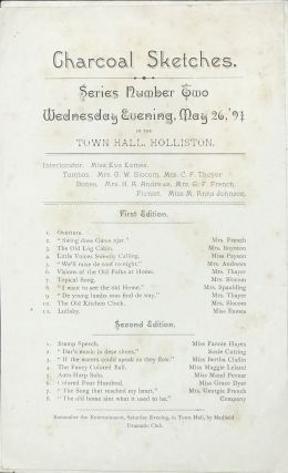 Charcoal Sketches: Series number One [and Two], Tuesday [and Wednesday] Evening, May 26 [and 27], 1891, in the Town Hall, Holliston [caption titles].