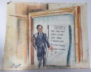 ORIGINAL PASTEL AND PENCIL DRAWINGS FROM THE COURTROOM TRIALS OF WATERGATE CONSPIRATORS, JUNE-AUGUST 1974, SKETCHED BY COURTROOM ARTIST PAT DAVIES.