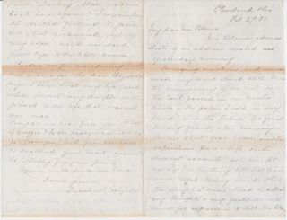 Addressing the loss of her husband, in an autograph letter, signed by her February 27, 1882, from...