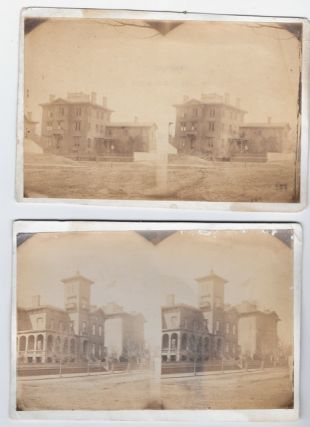 "The Union hospitals in Civil War Alexandria, Virginia,; as pictured in a group of 18 stereocards showing the buildings as they appeared while in use during the conflict, the photographs taken and printed at that time, each ""Prepared for R. O. Abbott, Surgeon, U.S.A., Colonel and Medical Director, Dept. of Washington, by the Surgeon in Charge of the U.S.A. Gen. Hospitals, Alexandria, Va."" [Lt. Col. Edwin Bentley], as indicated by a printed label affixed verso of each [noted ""ROA"" in the individual descriptions below], all save one with an additional title label verso or title printed directly on the card verso, as described below, all printed in red, the exception having a manuscript title in pencil under the presentation label. Accompanied by six other stereocards of Alexandria's Civil War-era hospitals, the photographs mounted on larger cards than those with the printed labels, each with a printed caption below the image."