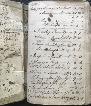 A CUMBERLAND COUNTY, PENNSYLVANIA COURT CLERK'S ACCOUNT BOOK, 1775-1788, AS RECORDED IN A MANUSCRIPT RECORD BOOK KEPT BY JOHN AGNEW, CLERK OF THE QUARTER SESSIONS AND JUSTICE OF THE PEACE DURING THE AMERICAN REVOLUTION.