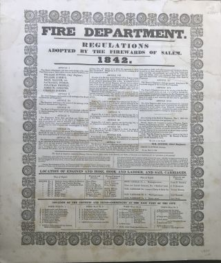 FIRE DEPARTMENT. Regulations Adopted by the Firewards of Salem. 1842