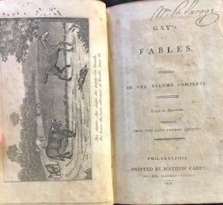 GAY'S FABLES. In One Volume. Complete From the Last London Edition. John Gay