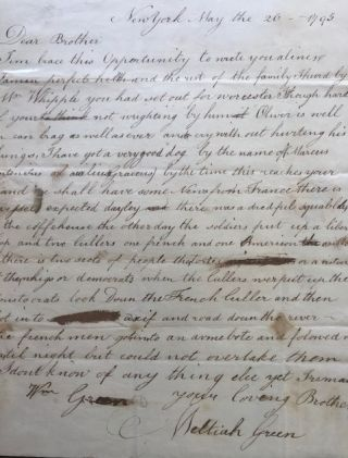 LETTER TO HIS BROTHER WILLIAM E. GREEN, in Worcester, Massachusetts, concerning an incident...
