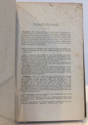 A MANUAL CONTAINING THE CONSTITUTION OF SOUTH CAROLINA, the Rules of Court, and the Fee Bill of Force July 1st, 1882. With notes and references, together with a monograph on appeals to the Supreme Court.