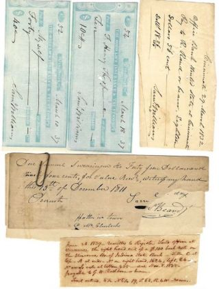 OFFICE BANK OF THE UNITED STATES (Second Bank of the United States) and The Ohio Life Insurance and Trust Company. Cancelled Personal Checks and Receipts Signed by Samuel Williams.