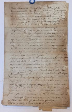 1787 MANUSCRIPT PETITION OF BRAINTREE MASSACHUSETTS Selectmen Defending the Legality of Their...