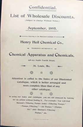 ILLUSTRATED CATALOGUE AND PRICE-LIST OF CHEMICAL AND PHYSICAL APPARATUS and Instruments for Laboratories, Chemists, Iron and Steel Works, Smelters, Assayers, Mines, Sugar Refineries, Schools, Colleges, Universities, etc.