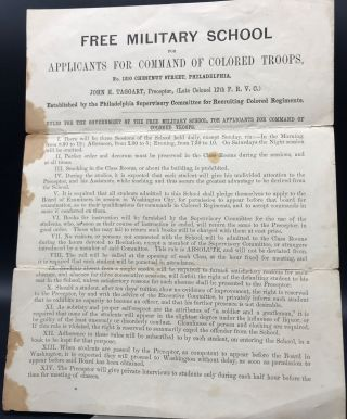 FREE MILITARY SCHOOL FOR APPLICANTS FOR COMMMAND OF COLORED TROOPS, No. 1210 Chestnut Street,...