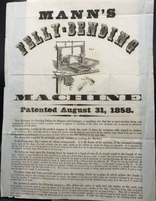 MANN'S FELLY-BENDING MACHINE. Patented August 31, 1858