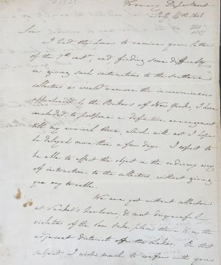 GALLATIN WRITES TO NEW YORK GOV. DANIEL D. TOMPKINS, IN AN AUTOGRAPH LETTER, SIGNED. Albert...