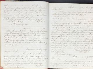 MANUSCRIPT LETTER COPYBOOK OF BALTIMORE BUSINESSMAN CHARLES DAVIS, HIS MERCANTILE AND FINANCIAL...